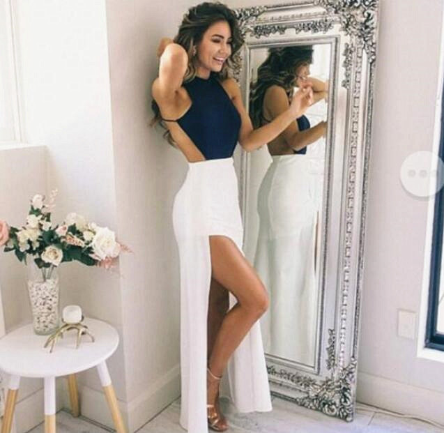 d978bed37281f Navy Blue Halter Prom Dress,Long Chiffon Prom Dress with split,Fitted  Backless Evening