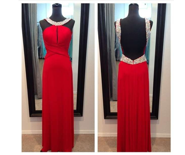 Charming Prom Dress,Beading Prom Dress,Satin Prom Dress,Backless Evening Dress