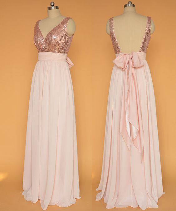 ed99acb88 Rose Gold Sequin Pink Chiffon Bridesmaid Dresses