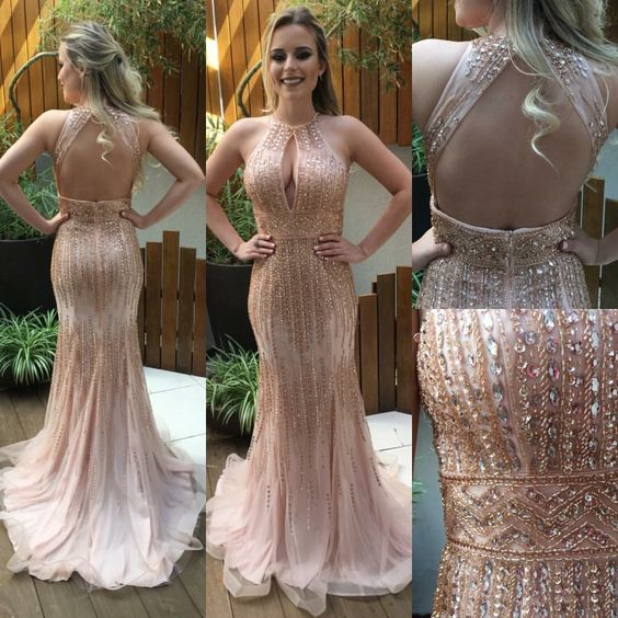 Charming Prom Dress,Mermaid Prom Dress,Beading Prom Dress,Backless Evening Dress