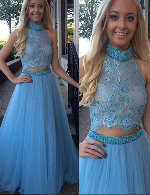 2017 Custom Popular Blue Tulle Prom Dress, Halter Lace Evening Dress,Two Pieces Prom Dress