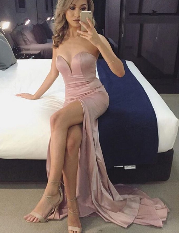 2017 Custom Charming Pink Prom Dress, Sexy Sweetheart Evening Dress,Sexy Slit Prom Dress