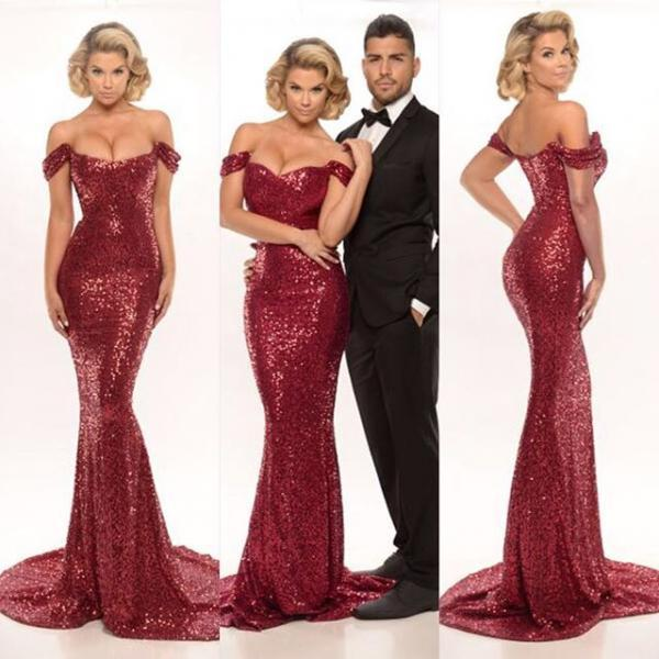 3c55398c 2017 Evening Dresses New Cheap Sexy Mermaid Burgundy/Red Wine Off Shoulder  Sequin Formal Long