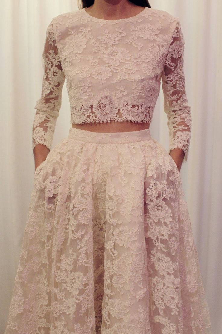 28e4e39d82 Two Pieces Long Sleeves Lace Wedding Dress,Two Pieces Wedding Dresses,Long  Sleeves Lace