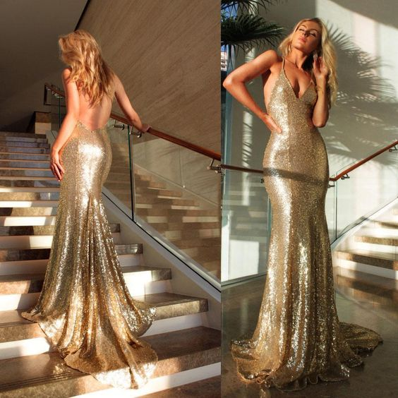 Backless Prom Dress,Mermaid Prom Dress,Sequins Prom Dress,Fashion Prom Dress,Sexy Party Dress,Custom Made Evening Dress