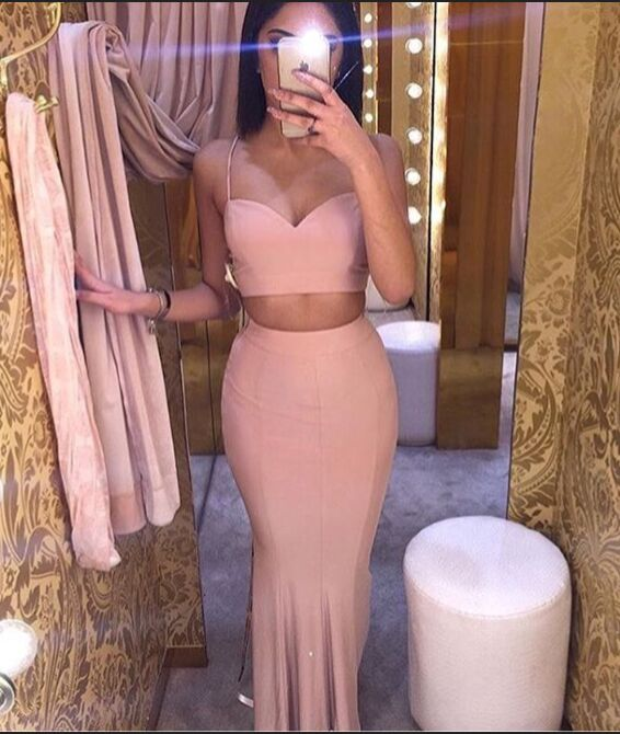 Spaghetti Straps Prom Dresses,Pink Prom Dresses,Two Pieces Prom Dresses,Evening Dresses,Long Prom Dress,Simple Prom Dress,Cheap Prom Gowns,Mermaid Party Dresses,Cute Dresses