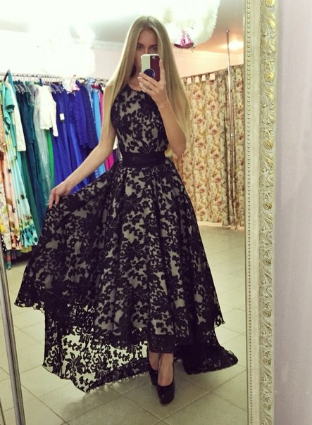 High Low Lace Prom Dress, Black Prom Dresses, Vintage Prom Dress ...