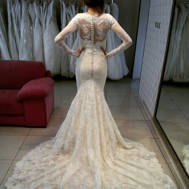 Antique Long Sleeves Mermaid Wedding Dresses