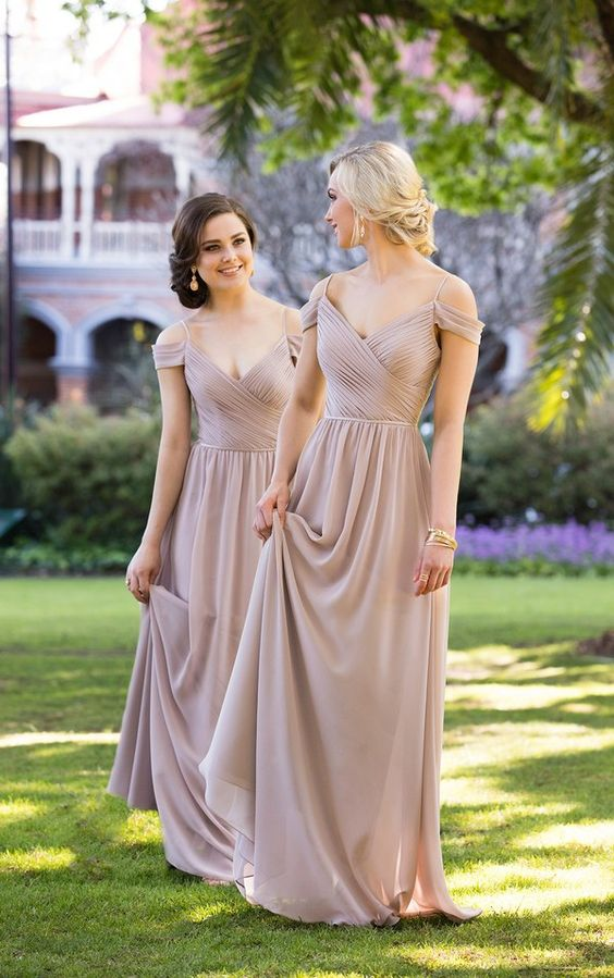 2e89004947fc Long Chiffon Bridesmaid Dress With Ruched Bodice on Luulla