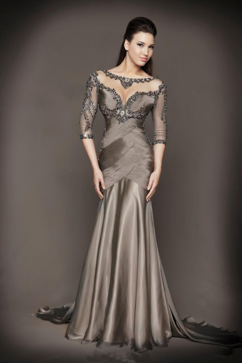 2017 New Mother Of The Bride Dresses Formal Gown Evening With Beading Half Sleeve See Through Grey Chiffon Women Dress