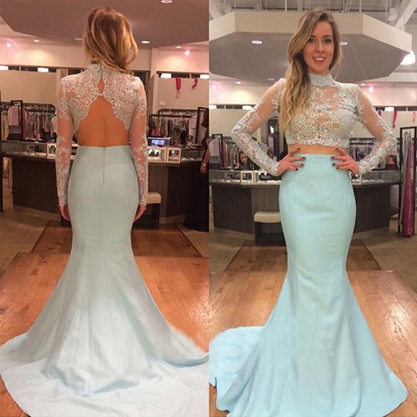 Fashion Mint High Neck Lace Prom Dresses Evening Gowns With Long Sleeves Sequin Beaded Mermaid Satin Hollow Back Cheap Evening Dress Formal Gowns