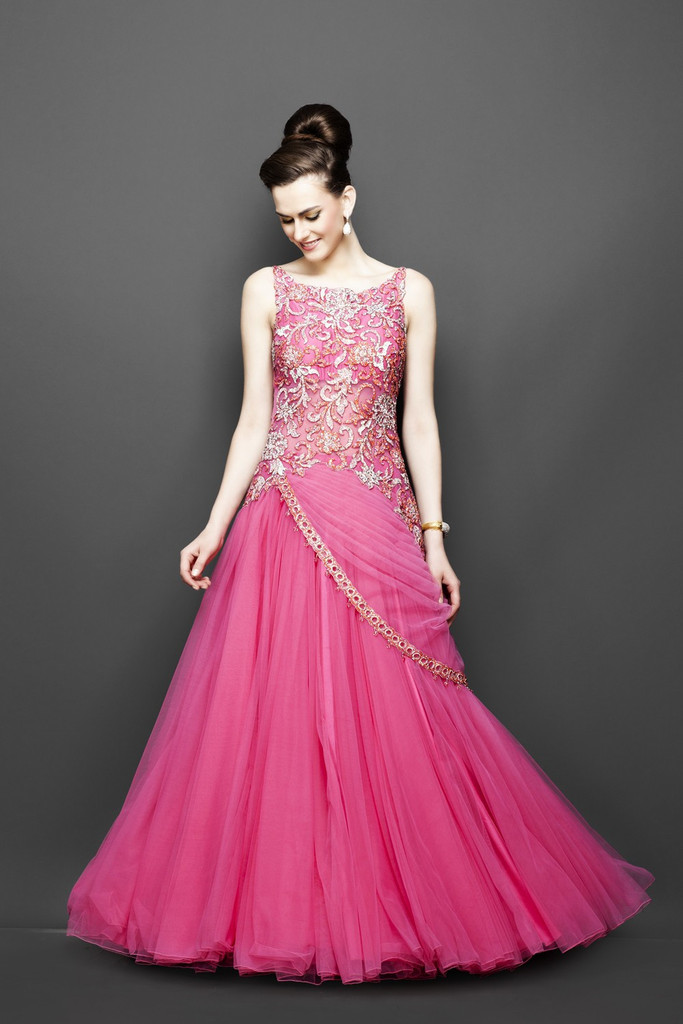 Pink Color Indo Western Bridal Gown on Luulla