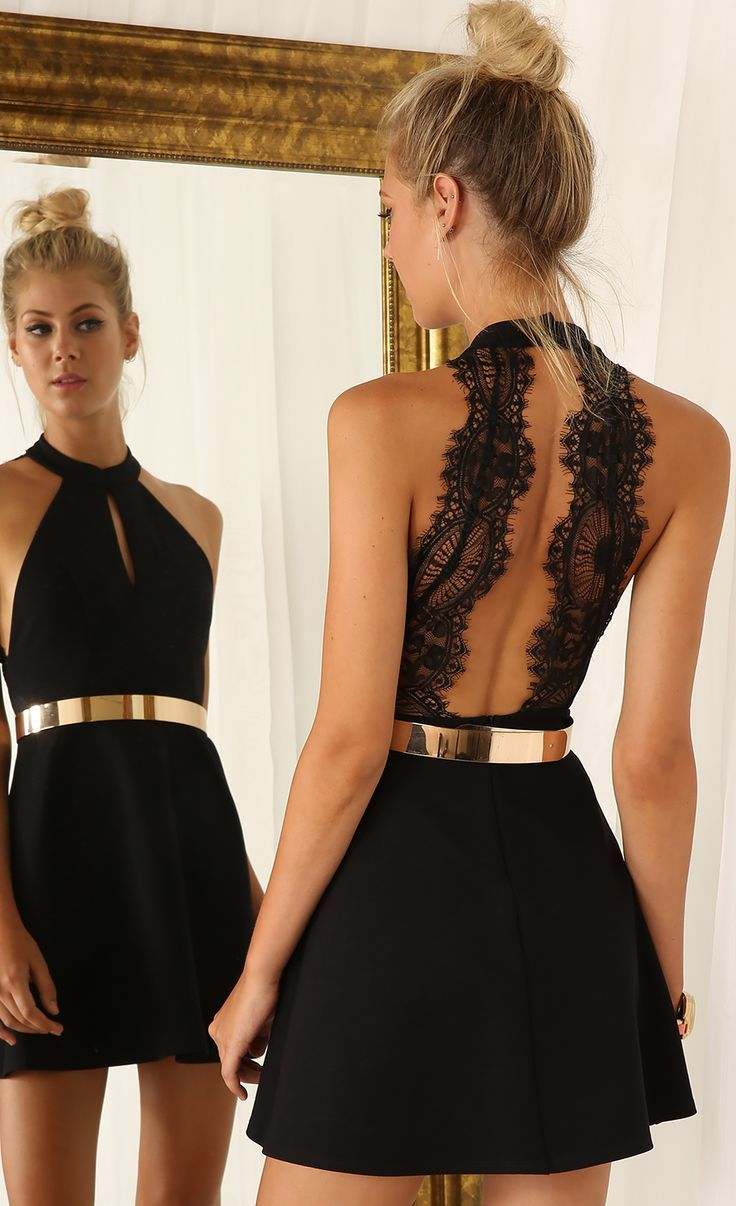 599c59eb1d Cut Out Little Black Dress With Lace Back