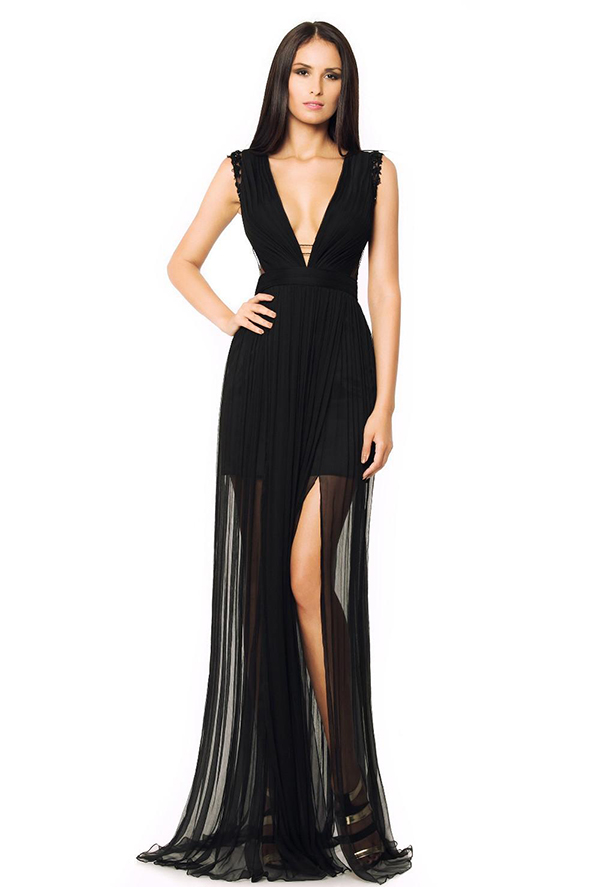 Black Chiffon Sexy Floor-Length Evening Party Dresses