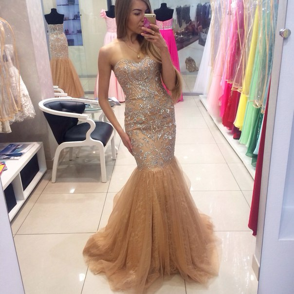 a49dc2f54a36 Custom Cheap Beaded Sweetheart Long Tulle Champagne Mermaid Prom Dresses  Gowns 2017 , Formal Evening Dresses Gowns, Homecoming Graduation Cocktail  Party ...