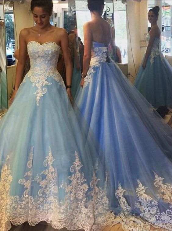 2017 Blue Cinderella Wedding Dresses Princess Liques Bridal Gowns Fabulous Sweetheart Sweep Train Prom Dress With White Lace