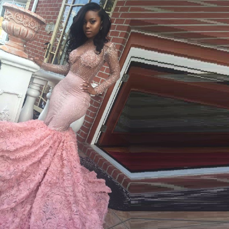 a20e19e77b4e Luxury African Mermaid Backless Prom Dresses For Black Girl Pink ...