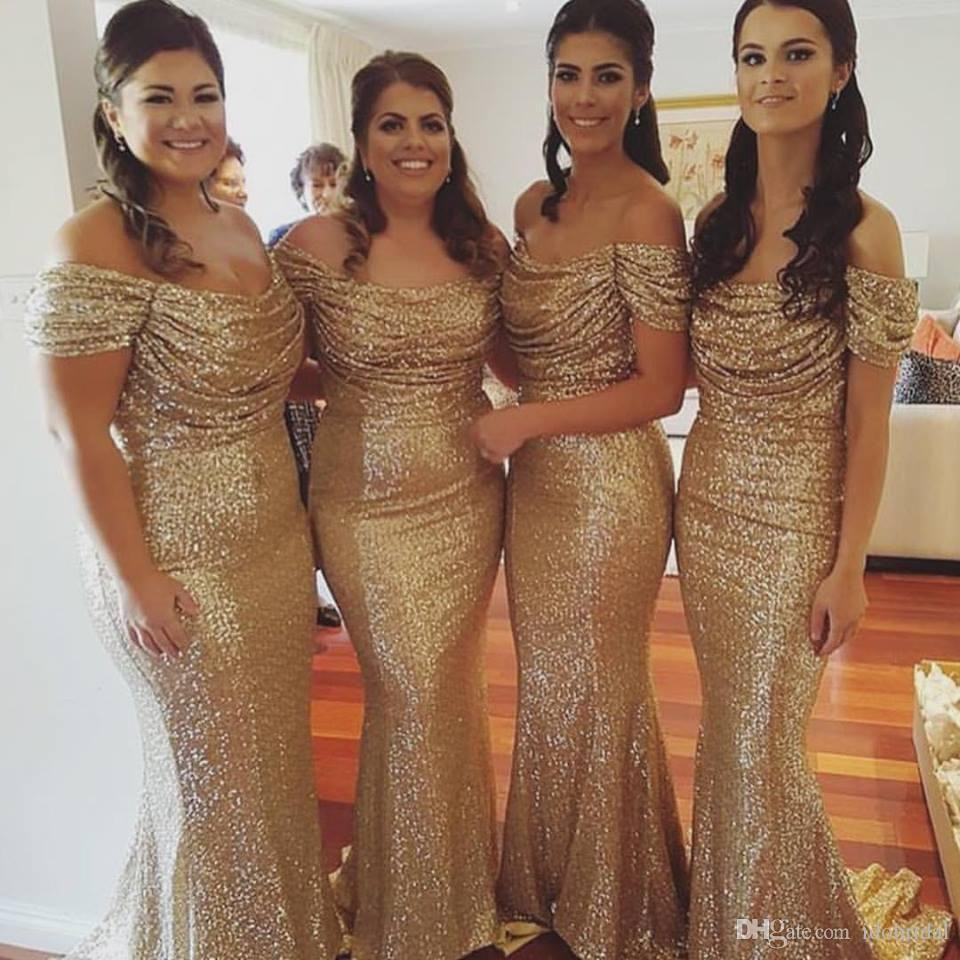 2017 Gold Sequin Off the Shoulder Long Mermaid Bridesmaid Dresses Sexy  Wedding Party Gown Women Evening f44b8e7913de