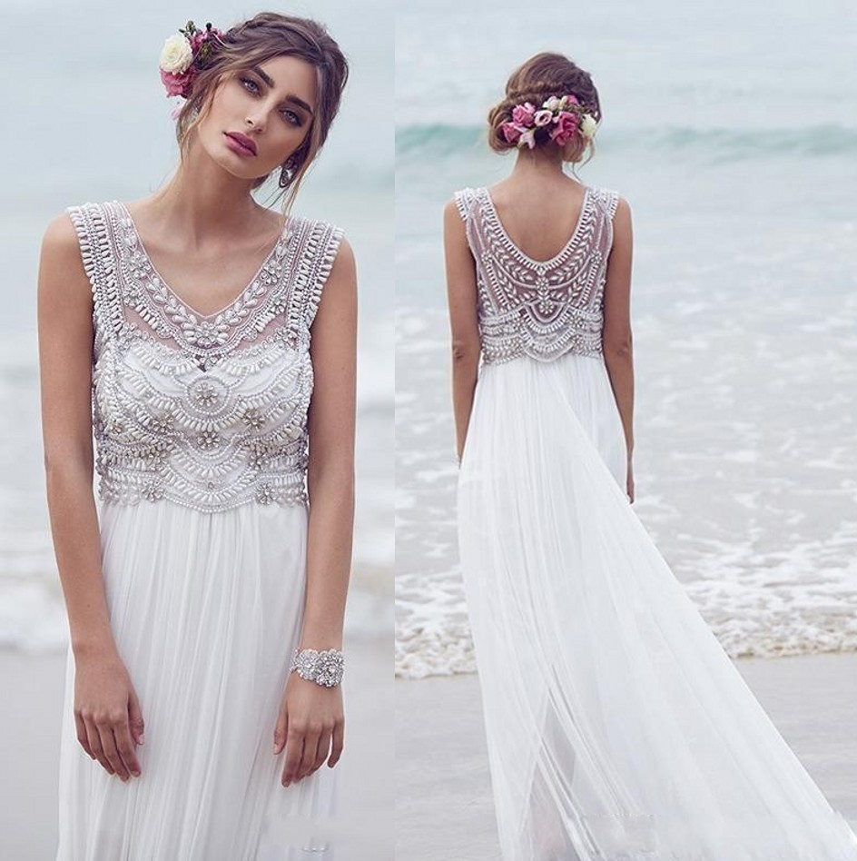 Beach Wedding Dresses,Chiffon Wedding Dresses,Beaded Wedding Dresses ...