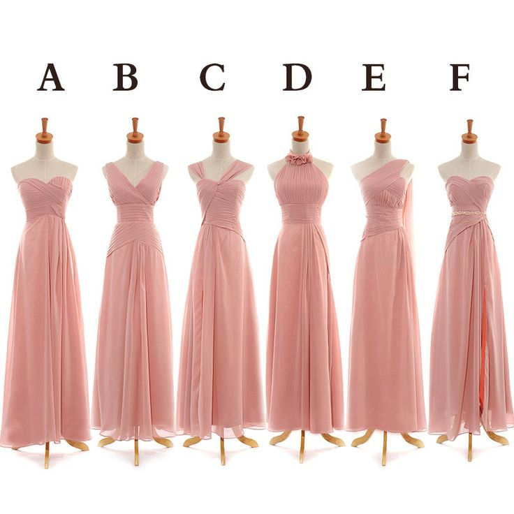 Peach Bridesmaid Dress | Long Bridesmaid Dress Long Pink Chiffon Bridesmaid Dress Mismatched