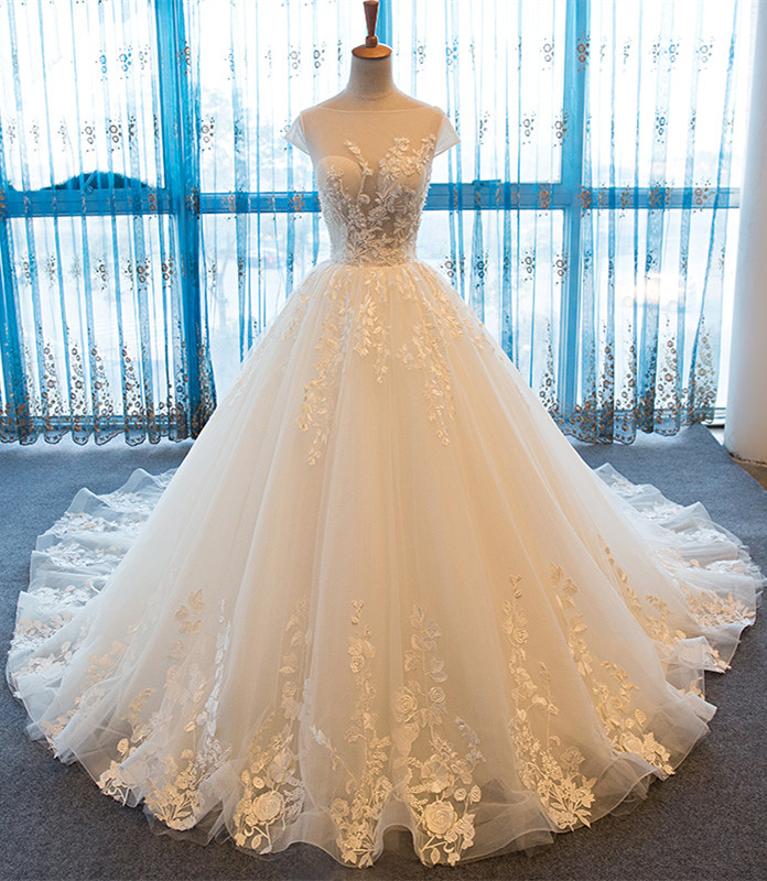 Vintage Sheer Wedding Dresses 2017 Cap Sleeve Ball Gown Tulle Bridal Gowns Handmade
