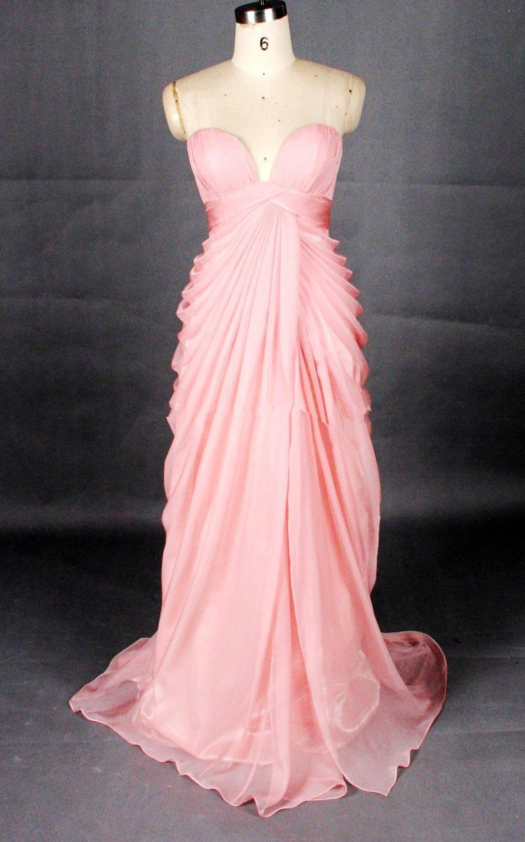 Elegant Peach Pink Sweetheart Long Prom Dresses,Formal Dresses,Evening Gowns,Wedding Party Dresses
