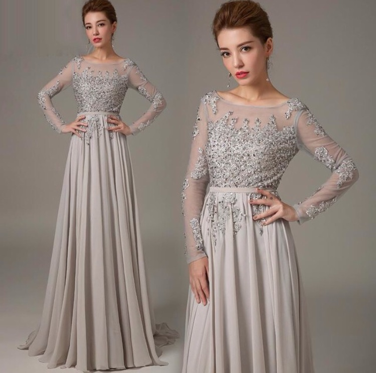 Long Sleeve Prom Dress Gray Prom Dress Backless Prom Dress Online