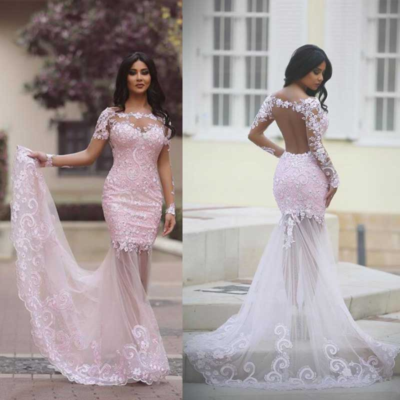 1458d6ac404 Long Sleeve Pink Lace Mermaid Evening Prom Dresses