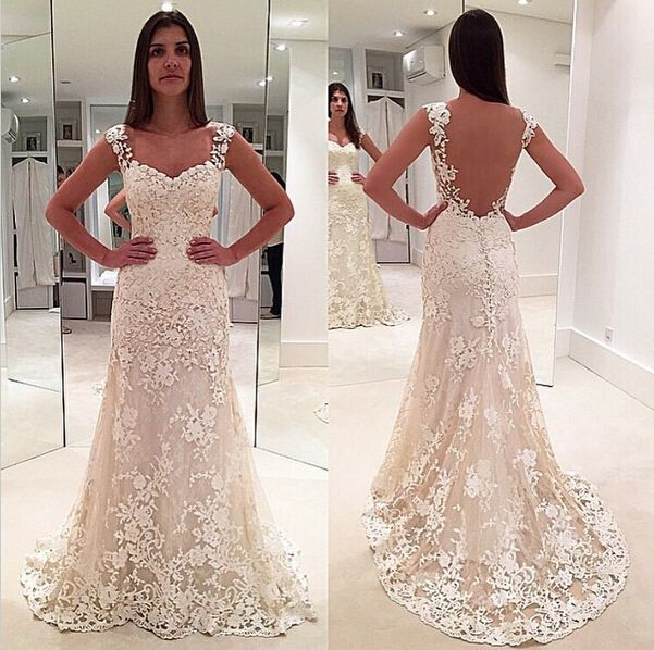 Wedding Dress Ivory Lace Dresses Sleeveless Mermaid Gown Sheer Back Bridal Long Elegant Gowns