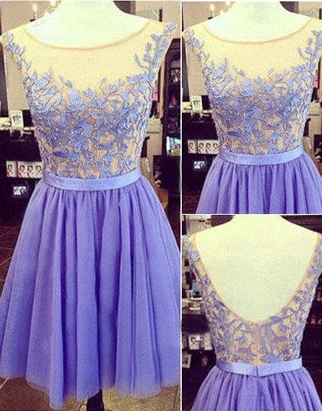 The Charming Tulle and Appliques Short Graduation Dresses,Sleeveless Homecoming Dresses, Homecoming Dress