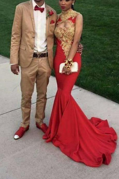 Red Prom Dress,High Collar Prom Dress,Fashion Prom Dress,Sexy Party ...