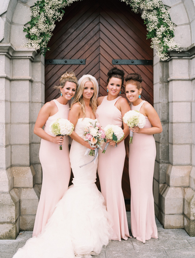 Blush Pink Bridesmaid Dresses High Neck Bridesmaids Dress Long Simple Floor Length For