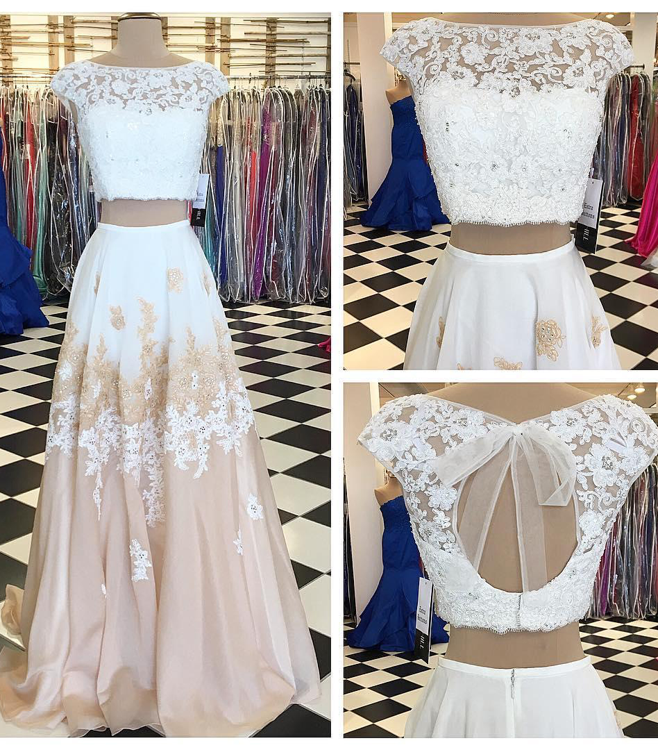 A-line Prom Dress,Two Piece Prom Dresses, Long Prom Dress with Open Back,Lace Prom Dresses,Elegant Prom Gown,Prom Dress