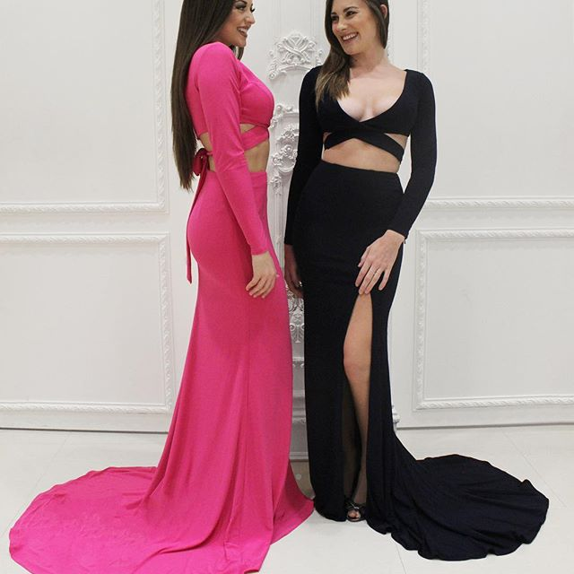 c8eb89d22f21 2017 Long Sleeves Prom Dress, Mermaid Long Prom Dress with Slit,Hot Pink  Prom