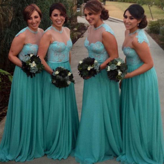 9147e667b37 Illusion Bridesmaid Dress With Lace Appliques