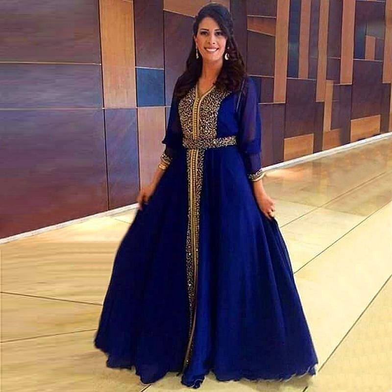 Arabic Royal Blue Prom Dresses With Beaded Top, A Line Chiffon ...