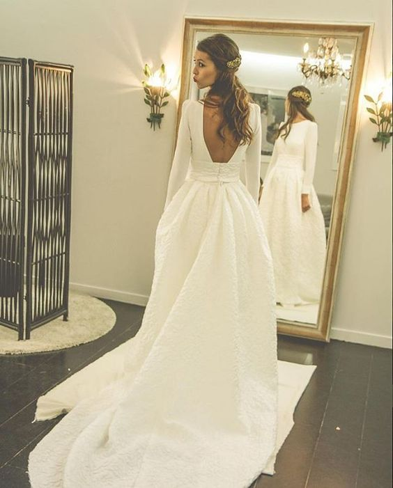 Romantic Wedding Dresses Satin Wedding Dress Court Train Bridal Wedding Dress Simple Wedding Gown Wedding Dress 2017