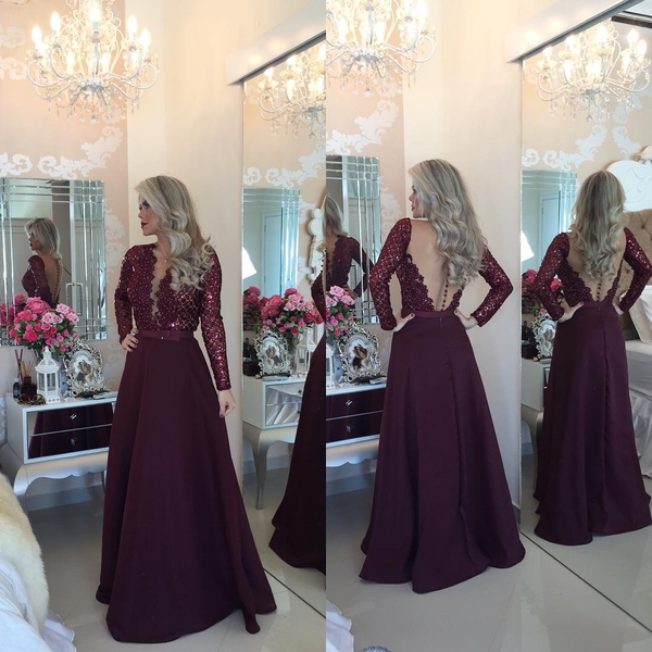 2492fc8b34 Burgundy Prom Dresses,Lace Prom Gown,Chiffon Prom Gowns,Simple Evening Dress ,