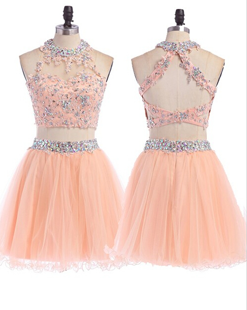 Two Pieces Tulle Short Prom Dresses,Cocktail Dress,Graduation Dresses,Homecoming Dresses,