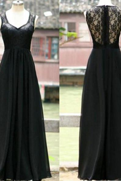 A-Line Sleeveless Natural Zipper Floor-Length Chiffon Black Prom Dresses 2017