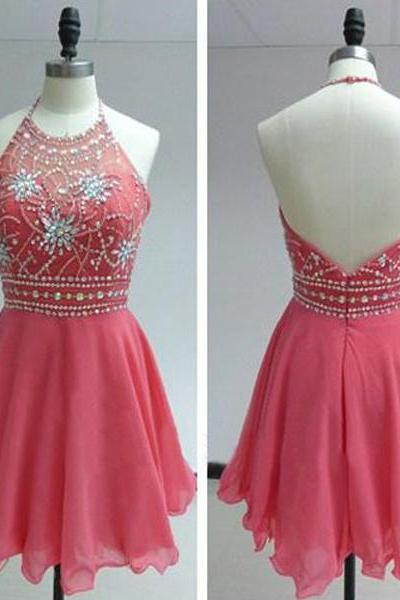 Short Homecoming Dress, Short Pink Homecoming Dress, Short Halter Prom Dress, Cheap Prom Dress,Chiffon Prom Dress Short,Beaded Homecoming Dresses,Mini Chiffon Prom Dresses,