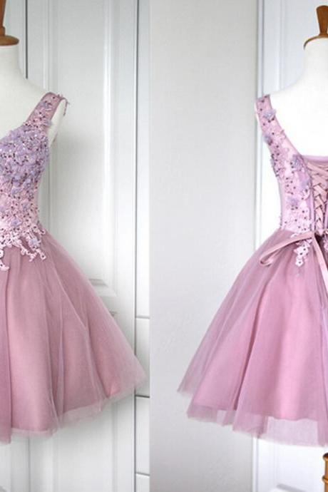 Sexy A line Prom Dress, Fashion Sweetheart Knee-Length Dress, V-Neck Applique Chiffon Dresses, Short Prom Dresses graduation Prom Princess Dress