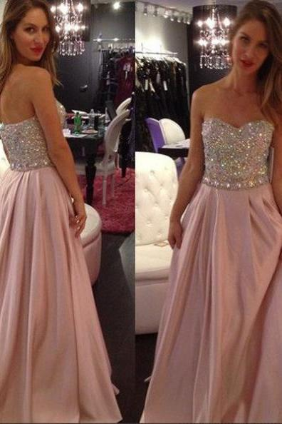 Crystal Embellished Sweetheart A-line Prom Dresses 2017