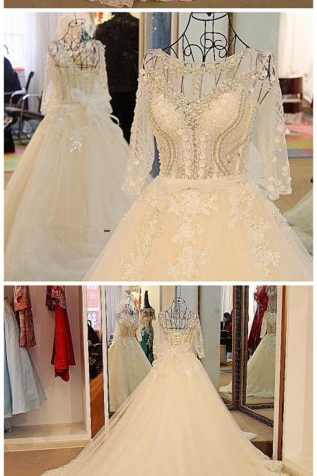 Wedding Dress,Sexy Long Sleeves Wedding Dress White Flash Diamond Long Train Bride Dress 100% Real Picture,Wedding Dresses,
