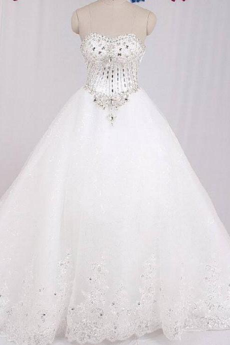real sample luxury crystal beaded sweetheart lace chapel train princess wedding dress 2017