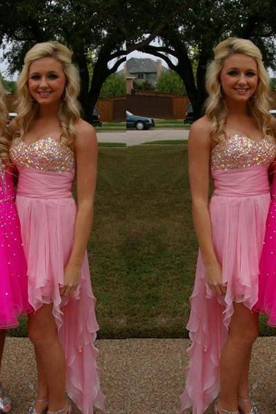 High Low Homecoming Dress,Strapless Homecoming Dresses