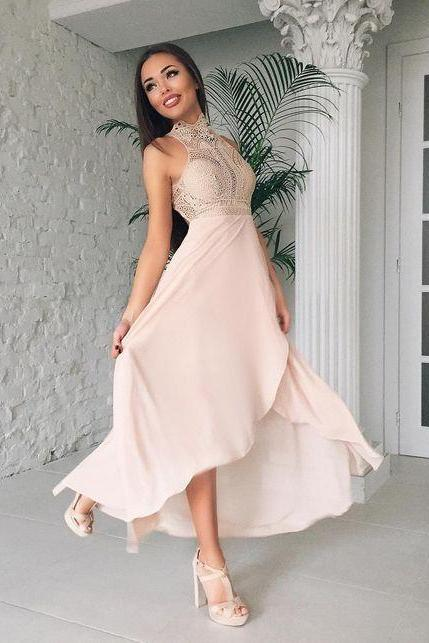 cheap prom dresses 2017 High Collar Prom Dress,Lace Prom Dress,Fashion Prom Dress,Sexy Party Dress,Custom Made Evening Dress