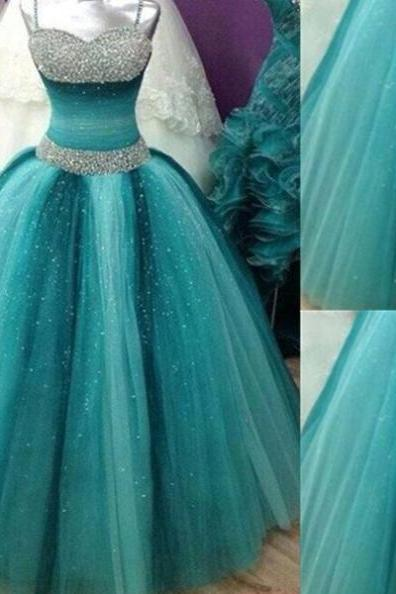 Crystal Detailing Spaghetti Straps Ball Gown Tulle Teal Prom Dresses 2017