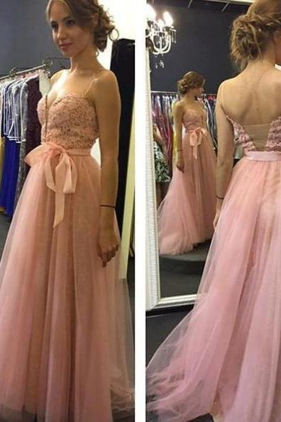 Prom Dresses 2017 Spaghetti Straps Lace Backless A-line Tulle