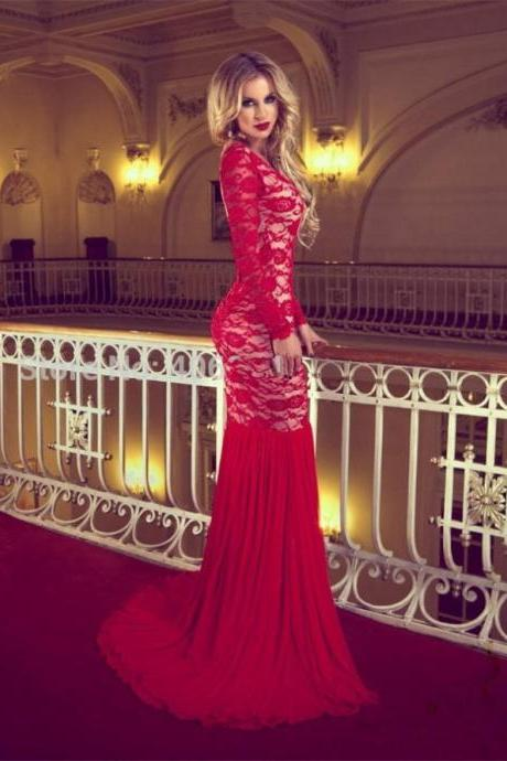 Red Round Neck Backless Trumpet/Mermaid Lace Prom Dresses 2017